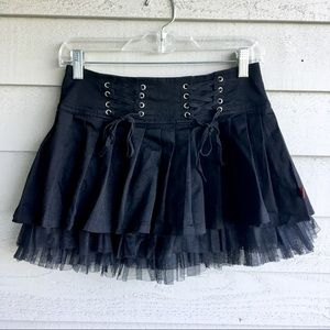 Royal Bones Black Lace Front Skirt